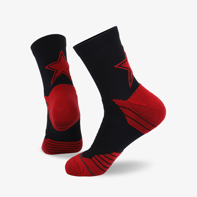 144N Red stars and black sport series terry socks