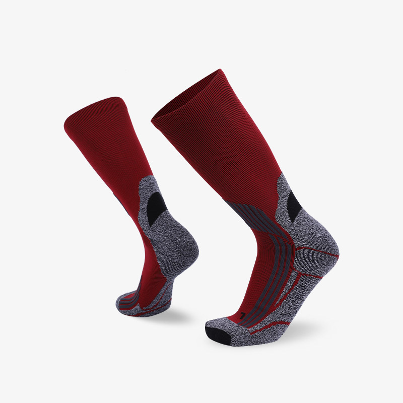 144N Red gray sport series terry socks