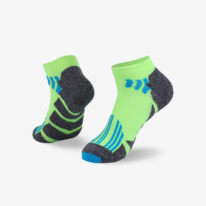 144N Fluorescent green and gray sport series terry socks