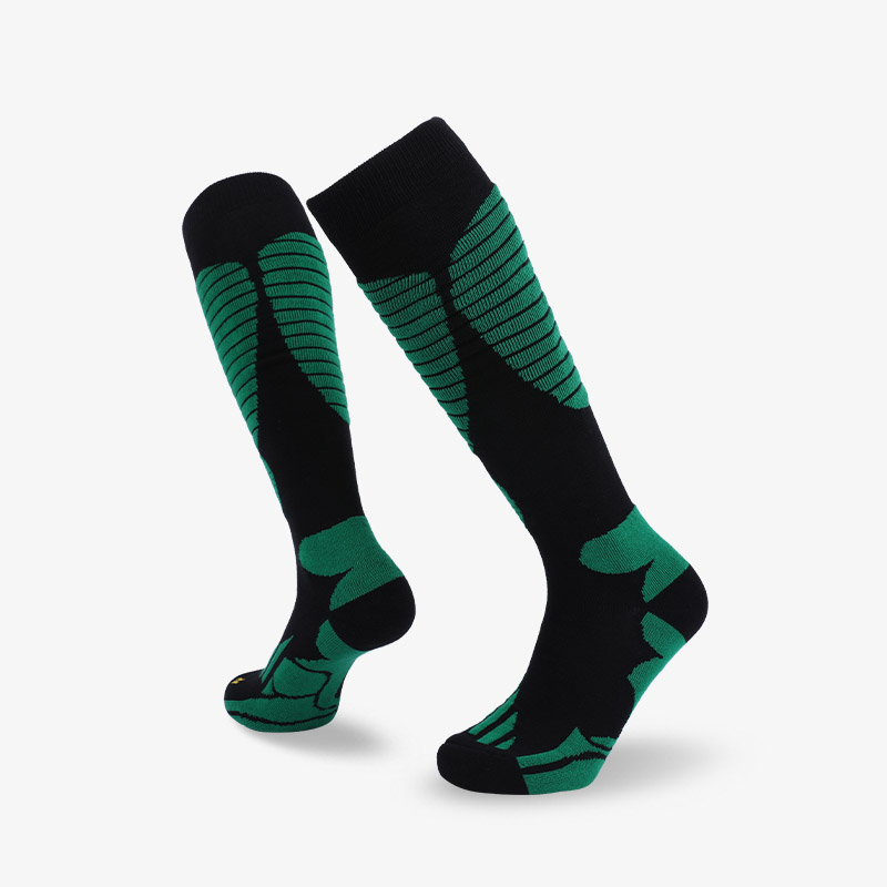 144N Black green ski sock