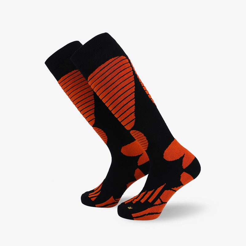 144N Black Orange ski sock terry socks