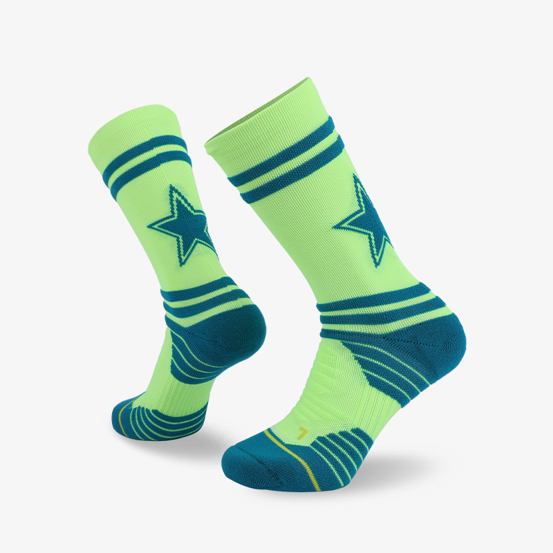 144N Grass green and cyan sport series terry socks