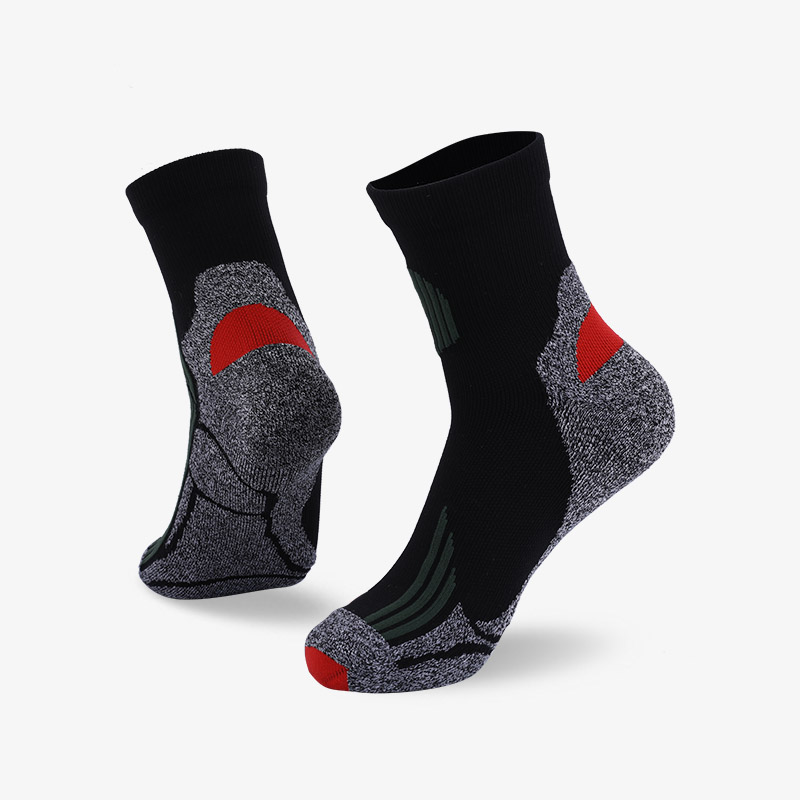 144N Black with dark green stripes sport series terry socks