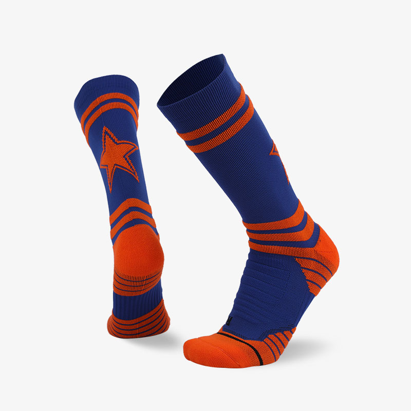 144N Orange stripes and stars on blue background sport series terry socks