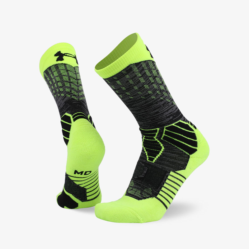 144N Fluorescent green plus gray sport series terry socks