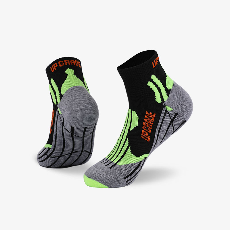 144N Black and fluorescent green sport series terry socks