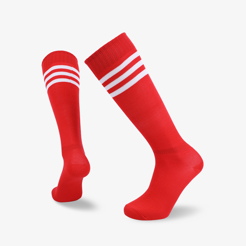 144N Red body with white stripes footbal sock