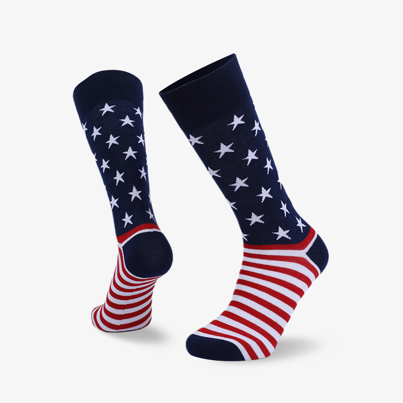 168N Red stripes on blue background Gentleman's flag sock