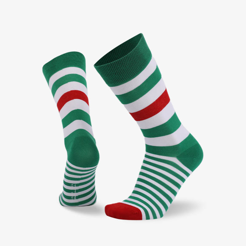 200N Green white red stripes normal flat knit socks