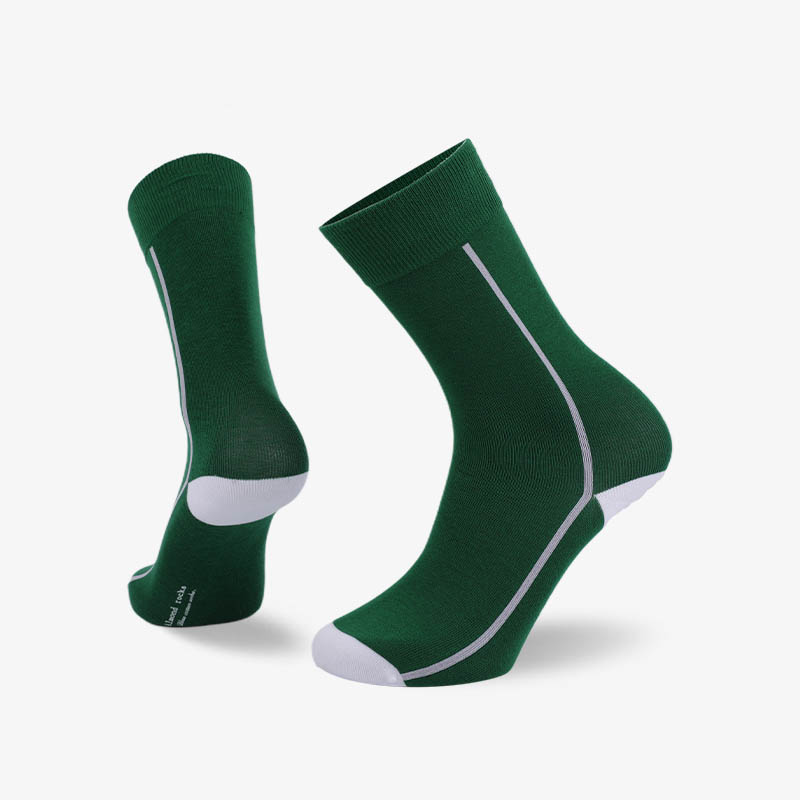 200N Green body white line normal flat knit socks