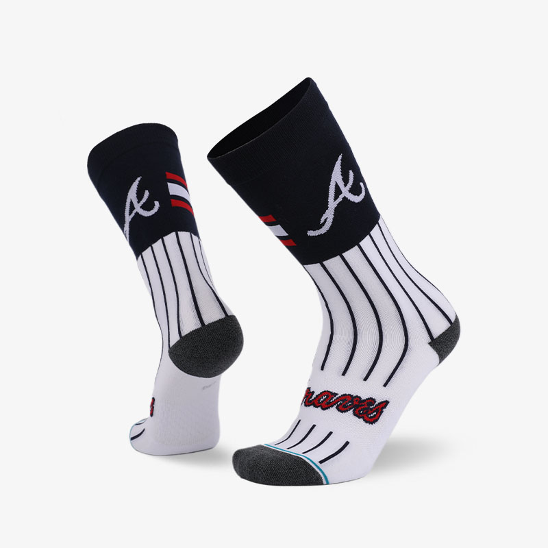 200N Black line on white normal terry socks