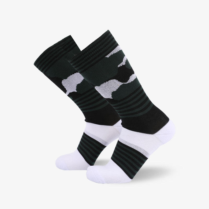 200N Dark green body on white normal terry socks