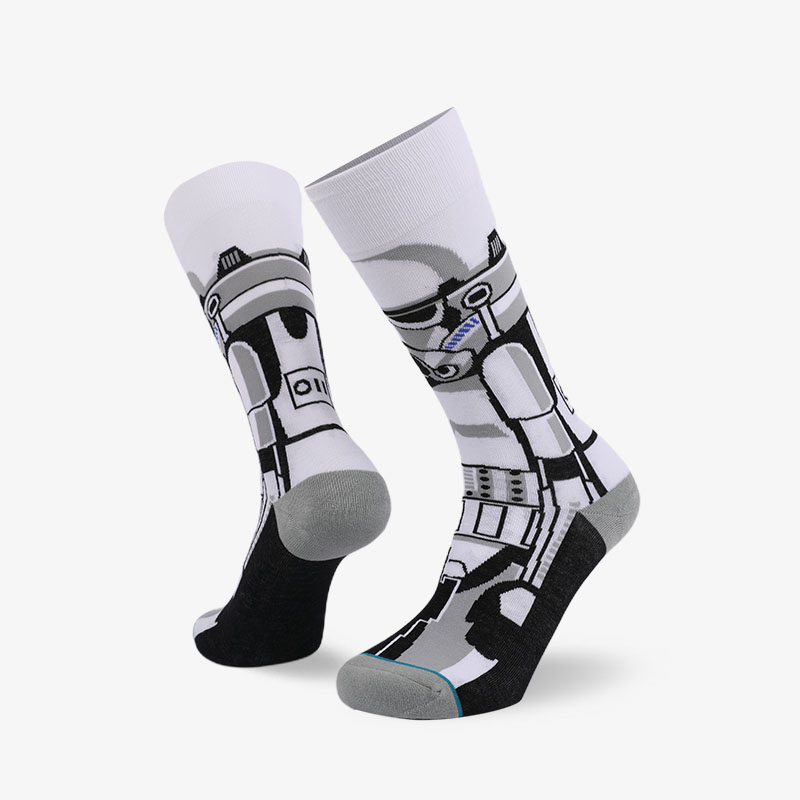 200N White gray normal terry socks