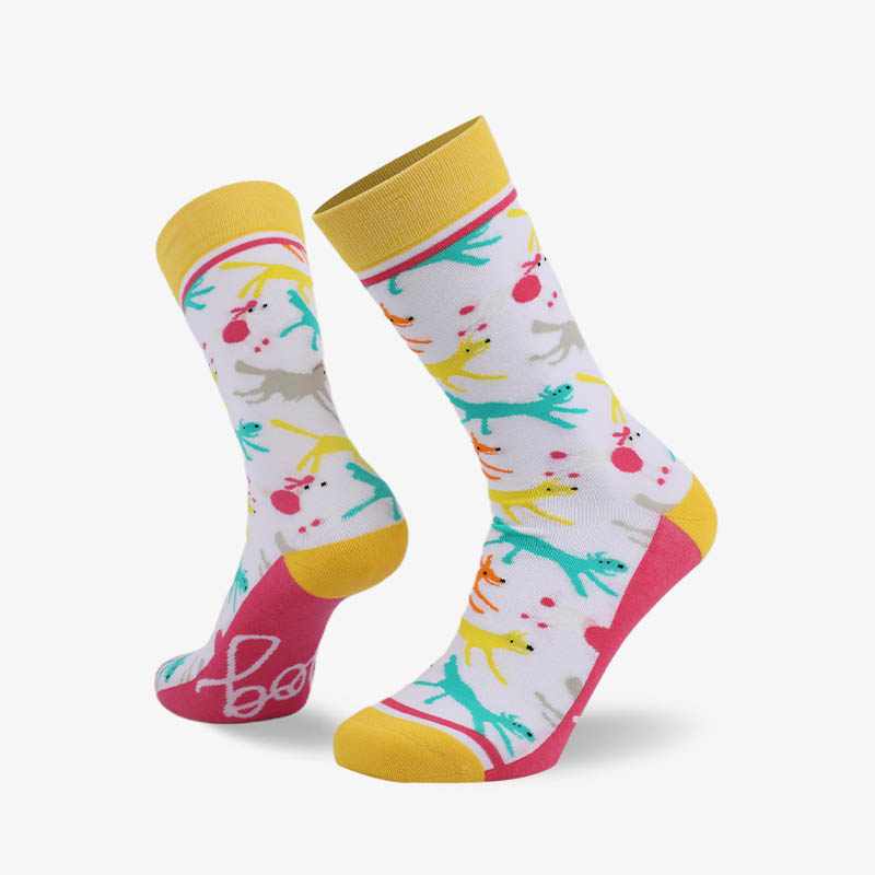200N Playing dog woven pear acquard series terry socks