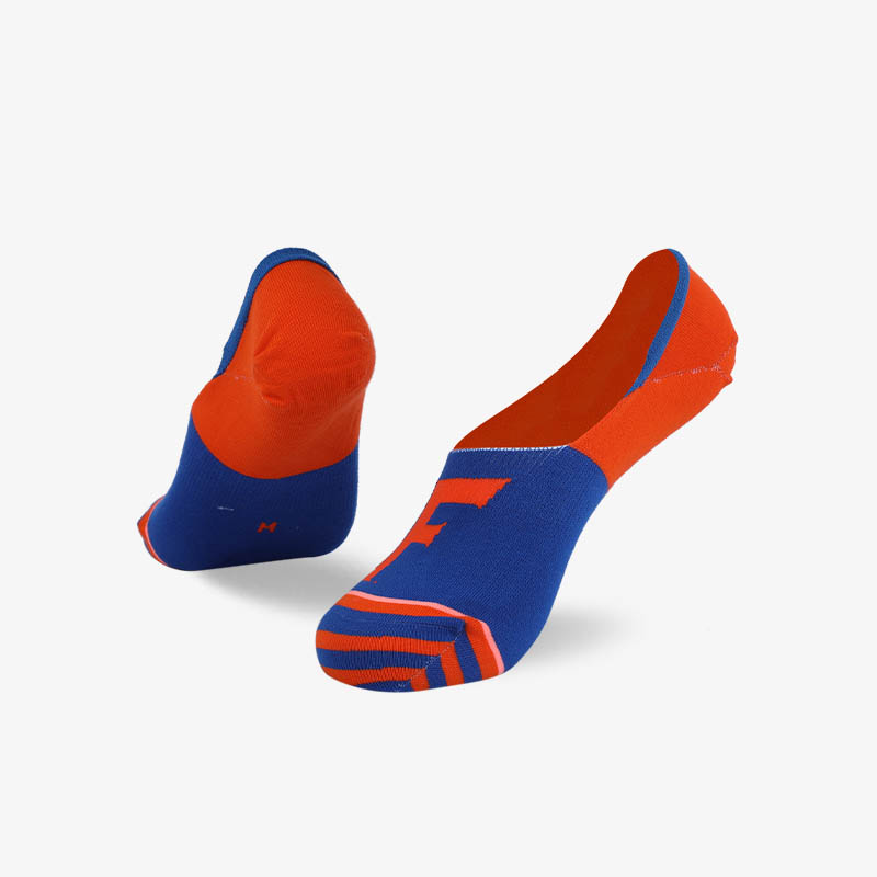 200N Orange blue super invisible series flat knit socks